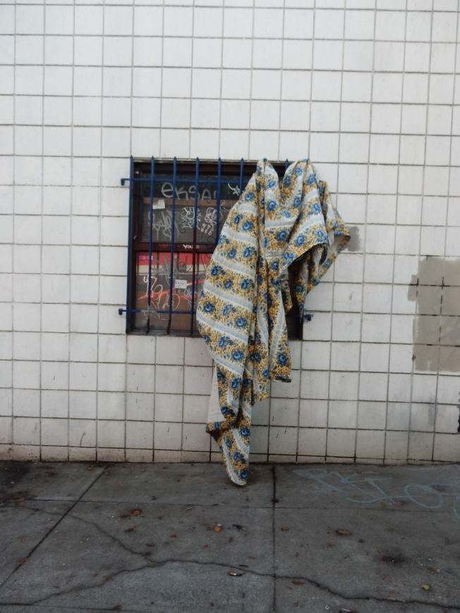 Blanket Drying Out After Downpour, 13th Street Near Folsom, San Francisco, CA, 19 December 2015